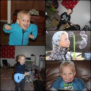 Mars. Begynner å bli vår så vi blåse såpebobler uter, guttan får seg gitarer.
