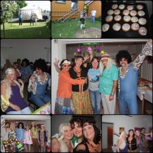 Juni. Kubb med gode venner, feirer bursdag 70-talls stil.