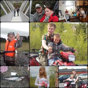 Juni, Nord-Norge Brua over Gorza, Fisketur, firhjuling, konfirmasjon, hos Iselin.