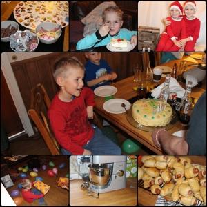 November. Spillkveld, Remi 7 år. Får kjøkkenmaskin, tester den. Tar bildan til julekortan.