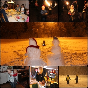 Desember. Pepperkakebaking, fakkeltog, skøyter på Greveløkka i snøfokk, snømenn, lage risbolla.