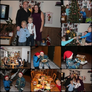 Desember. Julefamiliebilde, julefamilietullebilde, pynte juletre, julelunsj, julefrokost, grøt til Nissen i bua