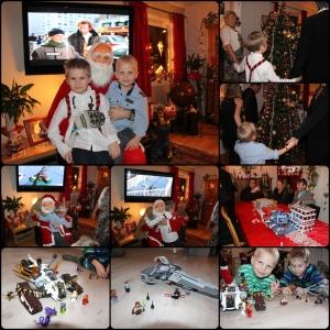 Desember. Nissen kom på julaftem, går rundt juletreet, rafling, eg har bygd legoen guttan fikk hos oss.