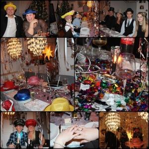 Desember Godt Nytt År! Hatter, Pynt, forlovelse, Bordbomber, glitter, konfetti, rot, søppel....