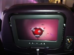 Greitt underholdningssystem på flyet.