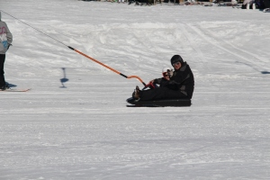 Jan og Remi på vei opp ski/aketrekket!