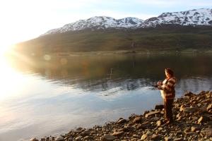 På fisketur me Iselin, Stian og Gudbrand på Båen..ikke nåkka fisk...