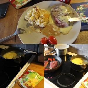 LAgde en bedre middag til meg og min kjære i dag... Gilde Langtidsmørnet ytrefilet av okse, fløtegratinerte poteter og KNORR Bearnaise saus. Mmmmmm