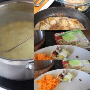 Det ble kokt potet, seifilet panert i hvetemel, slat og pepper stekt i melange, og gulrotråkost med Knorr Kremet Fiskesaus.