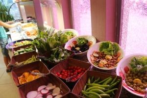 Godt utvalg av grønnsaker, var 2-3 slike bord med raspet, skjært og kuttete grønnsaker av mange slag, eget fruktbord..å mmm så søte gode druer...