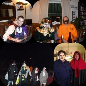 Her har vi et lite vors hos oss før vi gikk sammen til Snekkersveens! :D Her og fru Dracula, Tut Ankh Amon, Hannibal, Djevelen, Nurse Betty,  Michael Myers og Rødhette.