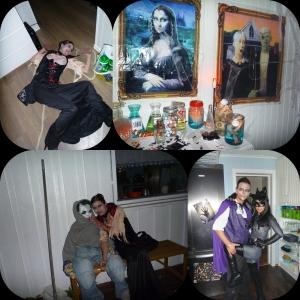 Førstereis Lene og Preben. Hilser på vertinna Catwoman, Joker som er velkomstkomite på trappa! Mad Scientist bordet er med i år også...