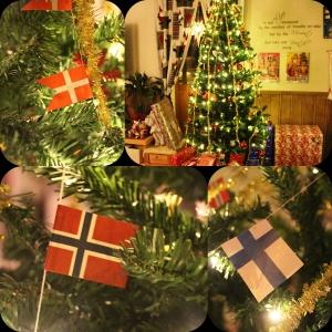 Juletreet vårt! med norske, finske og danske flagg!! :D Skal det være så skal det være!