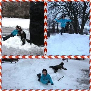 Så gikk turen til Domkirkeodden og julemarked der. Måtte rase litt i snøen først.