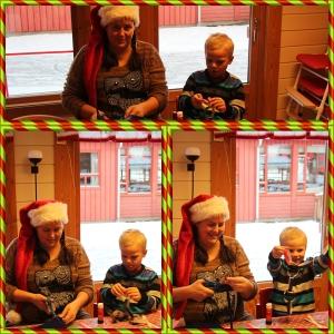 på juleverksted i barnehagen.. ser Phillip konsentrere seg på samme måte som meg... med tunga rett i munn!