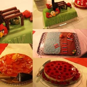 Stig bakte en Angry Birds kake til det ene bursdagsbarnet ( Frank 50 år) som elske Angry Birds. Han ble fornøyd! Eg bakte de andre tre kakene, en stranda i Thailand kake til Kurt 70 år ( Stig laga pynten) Akkurat på kakefronten føle eg meg litt underlegen, men Kurt ble fornøyd og det va det viktigste!
