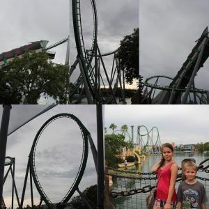 The Incredible Hulk Coaster. Remi var nok ett par cm for kort for denne. Men vi andre to tok den.