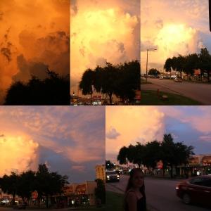 Helt merkelige intense farger og skyer den siste kvelden vår der.