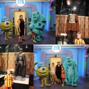 Remi og Batman og The Gladiatorkostymene. Og så traff vi på Sid og Mike fra Monsterbedriften! Remi fikk en liten kos! :D