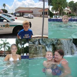 Så bae måtte vi ta bilde med sheriff bilen og den laaange limoen i bakgrunn. Før vi badet litt i bassenget på hotellet.