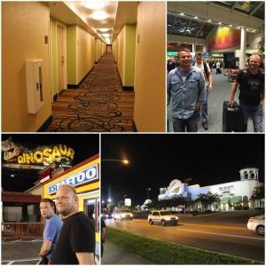 Jan og Kenneth på flyplassen i Orlando. Her har vi korridoren vår i 3. etasje på Comfort inn & Suites Universal, Convention Center, (Kenneth og Lisa bodde oppe på 5.)  Når vi var ankommet hotellet gikk vi ut å fant oss no mat (burgerking) før vi gikk til hotellet å la oss i sånn 24 tida..