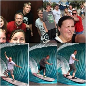 Hele gjengen i heisen. Hele gjengen foran Universal globen! Jan og gutta surfer på CityWalk