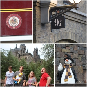 Plattform 9 3/4. Hogwarts og en snømann i Hogsmeade