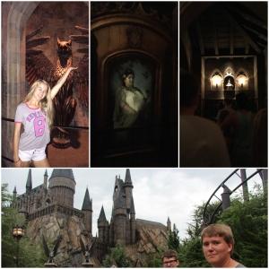 Inn på Hogwarts! Lisa foran inngangen til Dumbeldore sitt kontor. Griffindor sin sovesal, SortingHat. Og utsiden av Hogwarts!