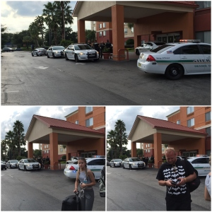 Action på hotellet når vi sjekket ut. politijakt og pågripelse i resepsjonen visstnok..bare litt før vi kom å ventet på taxi. Sto 5 politibiler der når vi kjørte...