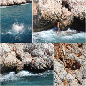 en fyr hopper fra båten, for å løpe gjennom grotta til andre siden og hoppe ut der...