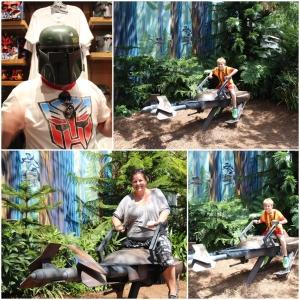 Jan vurderer ny hjelm. Og eg og Remi er på kjøretur i skogen! Men en Scout i bakgrunn!