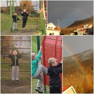 I Tromsdalen hos Iselin, Aslak og Stian. En sving på lekeplassem. vi hadde sol, regn, hagl og regnbue! :D