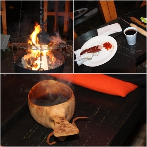 Så grilling av Hiillos i bålhuset til Beate og Leif. Og bålkaffe for dæm som lik det!