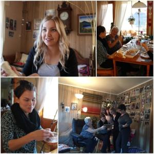 Så kom det en gjeng for å hilse på oss, fra Karre! Riika, Marri, Jenna og Eeva! Da ble det meir vårrulla.