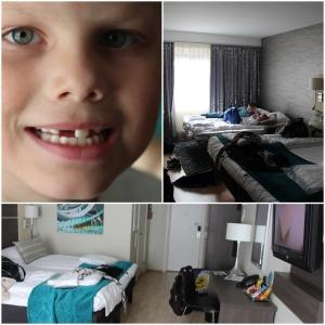 Tok oss ei natt på hotell i Oslo med unga! Scandic Victoria. Det første som skjedde da vi kom dit var at Phillip dro ut tanna si.