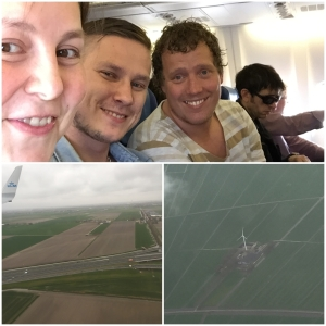 In the air. We sat togethe. the other Hans sat in front of Patric.  And we're landing i the Netherlands!